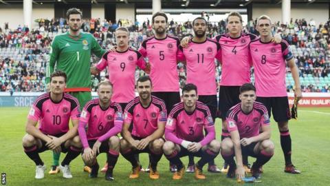 The Scotland team line up before facing Slovenia