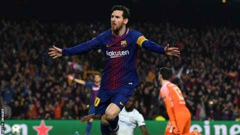 Lionel Messi celebrates scoring for Barcelona against Chelsea in the Champions League
