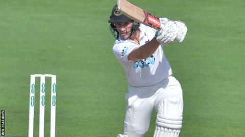 Sussex batsman Harry Finch plays a shot