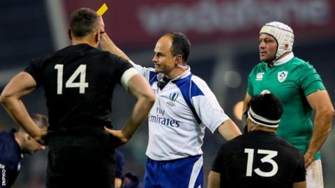 Referee Jaco Peyler yellow cards New Zealand centre Malakai Fekitoa
