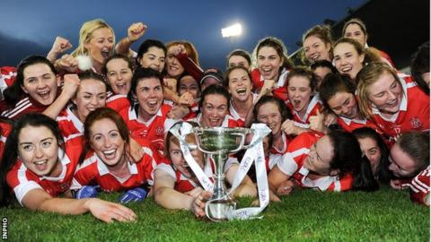 Donaghmoyne players celebrate after their triumph at Parnell Park