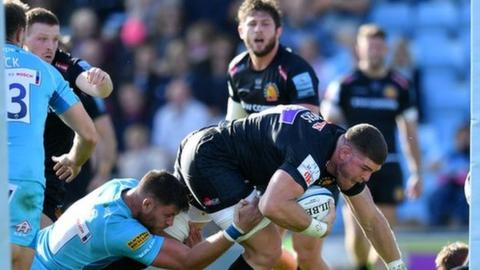 Exeter flanker Dave Ewers went in for two tries in five minutes just before the break at Sandy Park
