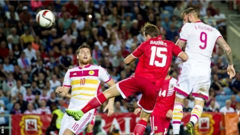 Steven Fletcher heads in Scotland's third