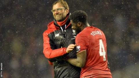 Jurgen Klopp with Kolo Toure