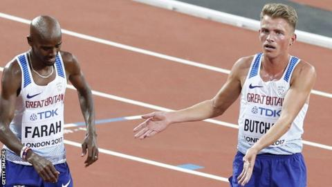 Andrew Butchart gestures towards Mo Farah competes at the 2017 World Championships