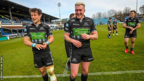 Pete Horne (left) and Stuart Hogg celebrate beating Leinster at the RDS Arena