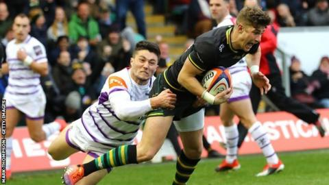 Northampton stand-off James Grayson scored 17 of his side's 47 points in the win over Leicester