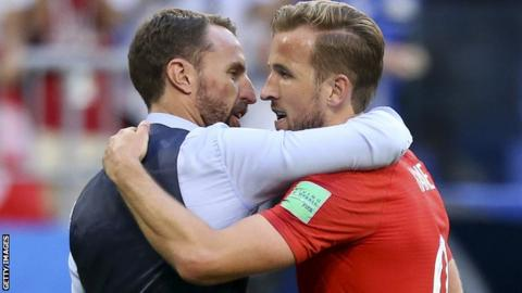 England's Gareth Southgate and Harry Kane