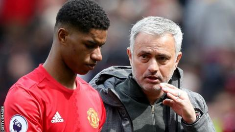 Marcus Rashford and Jose Mourinho