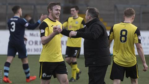City manager Gary Jardine congratulates winning goalscorer Lewis Allan on the pitch after their 2-1 victory