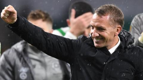 Celtic manager Brendan Rodgers celebrates against Leipzig