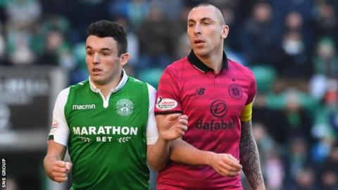 Scott Brown and John McGinn in action at Easter Road