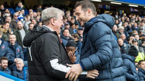 Crystal Palace boss Roy Hodgson and Chelsea head coach Frank Lamaprd