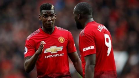 Manchester United's Paul Pogba and Romelu Lukaku