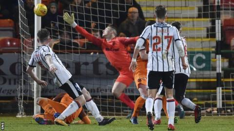 Dunfermline's Declan McManus fires against a post against Dundee United