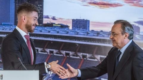 Real Madrid defender Sergio Ramos with club president Florentino Perez