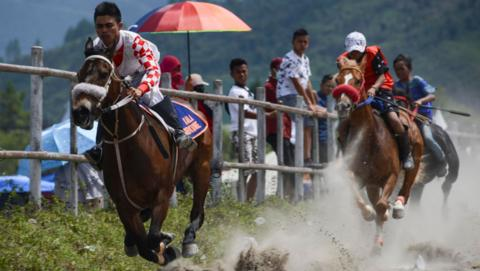 Young jockeys race in Indonesia