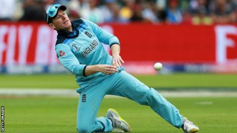 England captain Eoin Morgan fields a ball during a one-day match