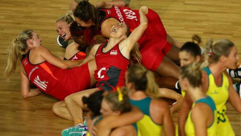 England celebrate victory in the Netball Gold Medal Match on day 11 of the Gold Coast 2018 Commonwealth Games at Coomera Indoor Sports Centre on April 15, 2018 on the Gold Coast, Australia.