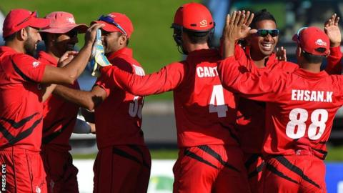 Hong Kong celebrated a 40-run win over Ireland in the first T20 match at Bready