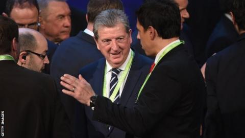 Roy Hodgson in conversation with Wales manager Chris Coleman at the Euro 2016 draw