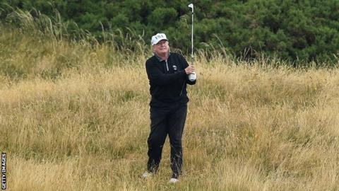 US President Donald Trump playing Turnberry in 2018