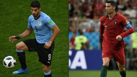 Cavani double for Uruguay sends Portugal and Ronaldo packing