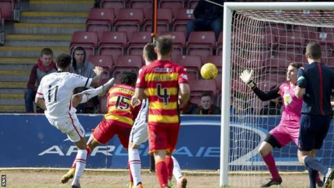 Jordan Roberts scores for Inverness Caledonian Thistle against Partick Thistle