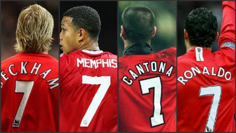 b556640f9 Memphis. Depay is the latest to wear United s iconic number seven shirt