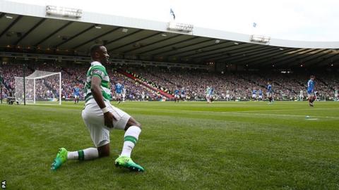 Celtic striker Moussa Dembele grimaces at Hampden