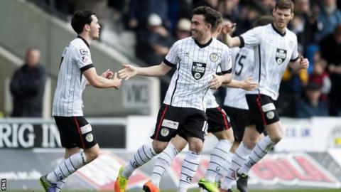 Stevie Mallan celebrates scoring for St Mirren