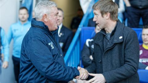 Steve Bruce greets Graham Potter before last season's game between Sheffield Wednesday and Swansea City
