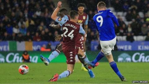 Leicester beat Aston Villa 4-0 on 9 March - the last Premier League action