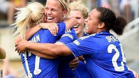 Chelsea Ladies players celebrate a Gilly Flaherty goal