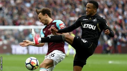 Martin Olsson tackles West Ham's Mark Noble