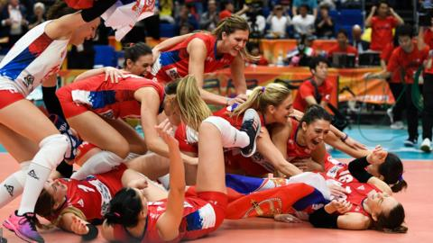 Serbia women's volleyball players
