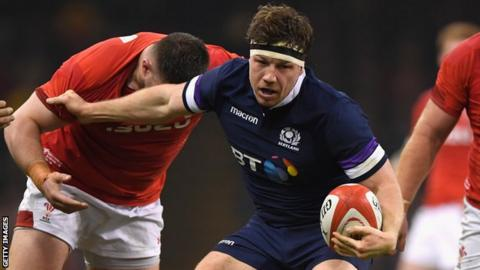 Hamish Watson runs with the ball for Scotland against Wales