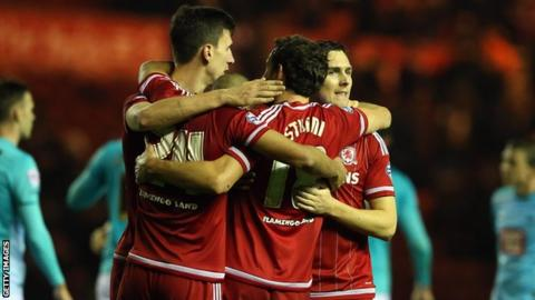 Middlesbrough celebrate Derby County win