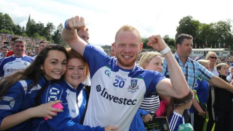 John McCarron celebrates with Monaghan supporters after the end of the game