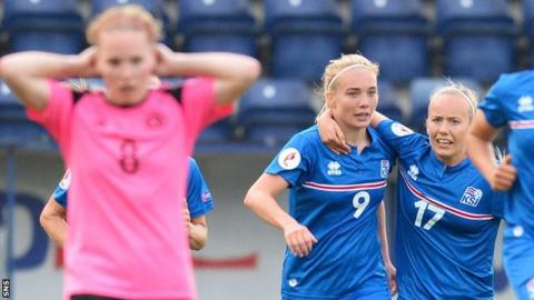 Scotland's Kim Little is left disappointed as Iceland celebrate