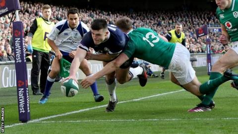 Blair Kinghorn scores a try for Scotland against Ireland