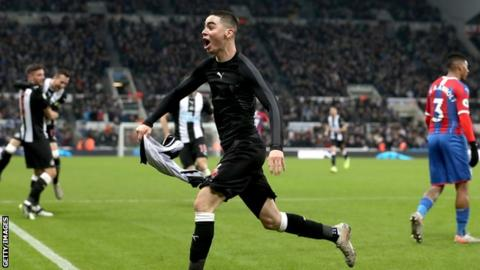 Miguel Almiron celebrates scoring against Crystal Palace