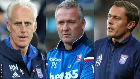 Mick McCarthy, Paul Lambert and Paul Hurst (left to right)