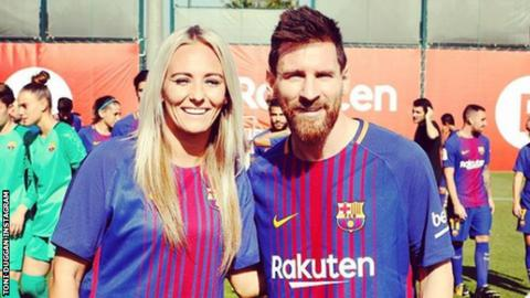 Toni Duggan with Lionel Messi