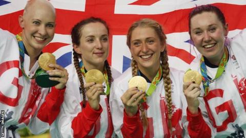 Great Britain's women's team pursuit medallists