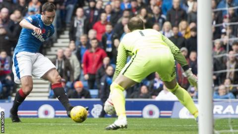 Lee Wallace scored his first goal of the season on Saturday