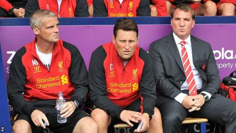 Mike Marsh (L) and Colin Pascoe (C) were long-time assistants to Liverpool boss Brendan Rodgers
