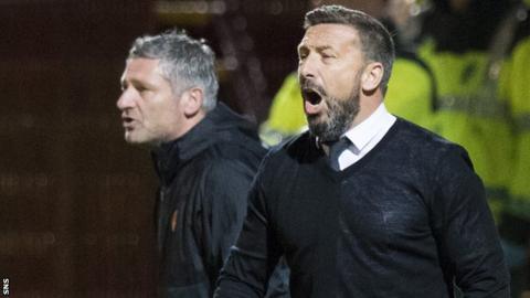 Aberdeen assistant Tony Docherty and Derek McInnes