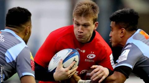 Saracens' Nick Tompkins takes on Cardiff Blues centres Willis Halaholo and Rey Lee-Lo in the European Champions Cup in December, 2018