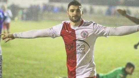 Martin Pilkington in action for Ashton United before his ban